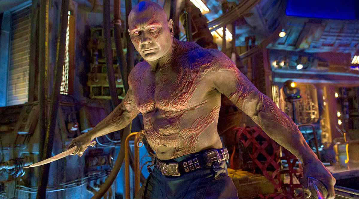 Dave Bautista como Drax en Guardianes de la Galaxia.