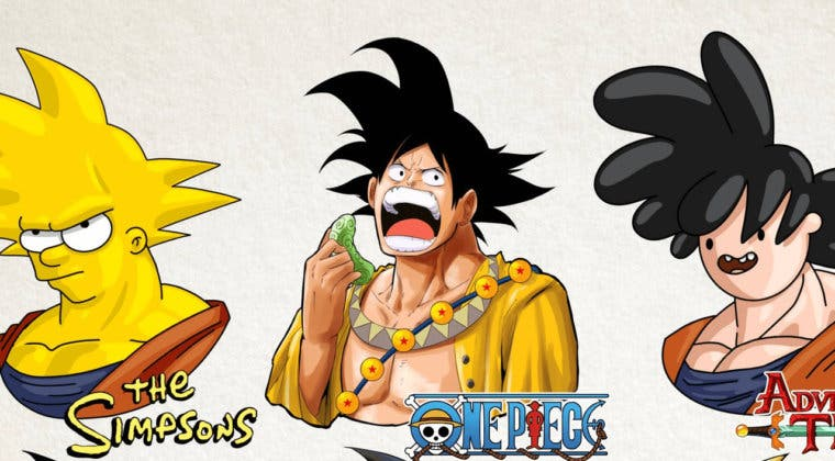 Imagen de Goku (Dragon Ball) en 9 animes/series distintos: One Piece, Los Simpson y más