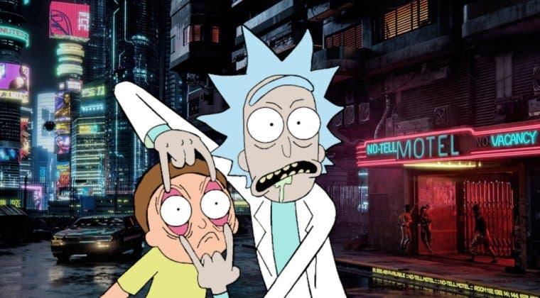Imagen de Rick y Morty llegan a Cyberpunk 2077 con una recreación del tráiler original del juego