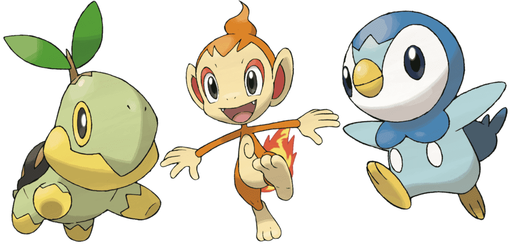 Pokémon iniciales Sinnoh Turtwig Chimchar Piplup