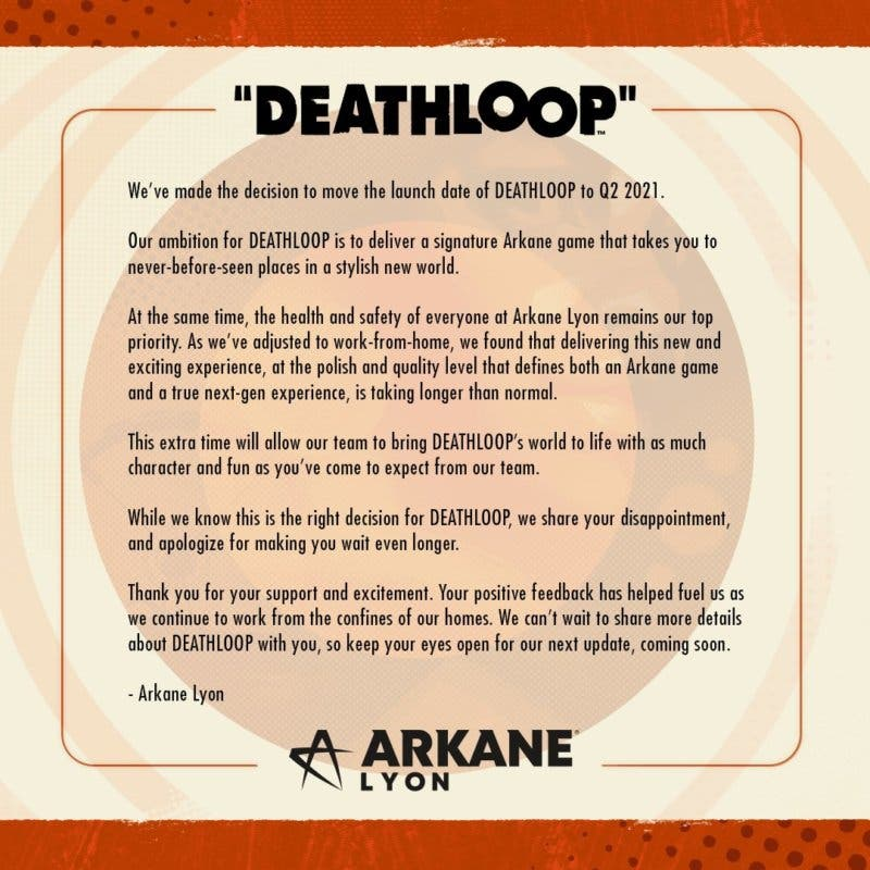Deathloop anuncia un retraso hasta 2021