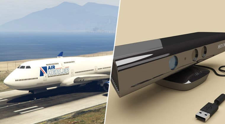 Imagen de GTA V: Jugador usa Xbox Kinect para pilotar un avión con su cuerpo