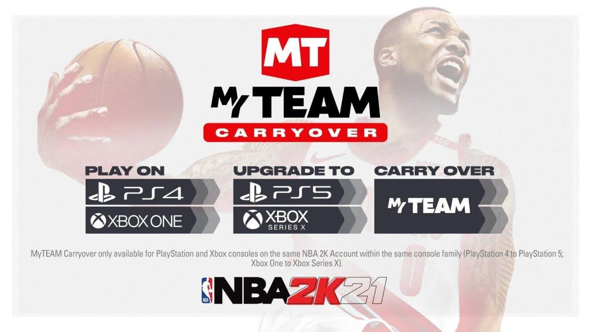 Mi Equipo de NBA 2K21 pasará el progreso de PS4 a PS5 y de Xbox One a Xbox Series X