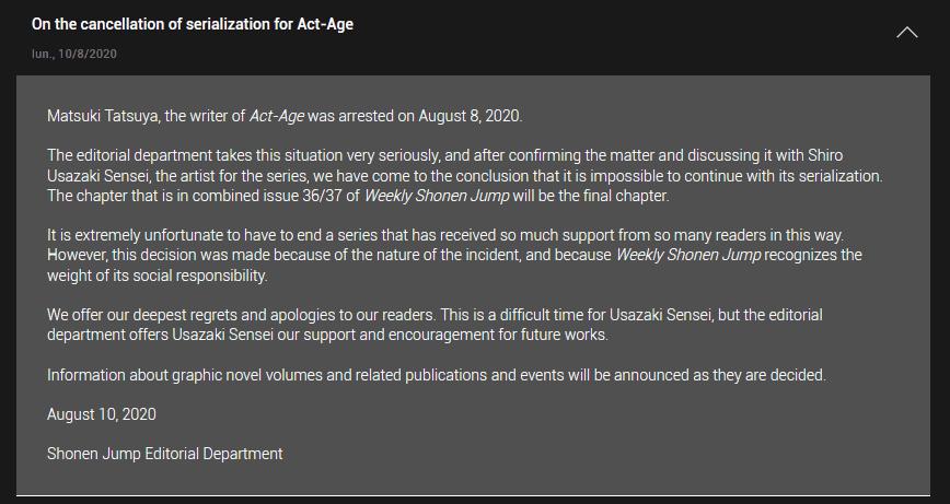 Act-Age llega a su fin; Shonen Jump dejará de publicar el manga