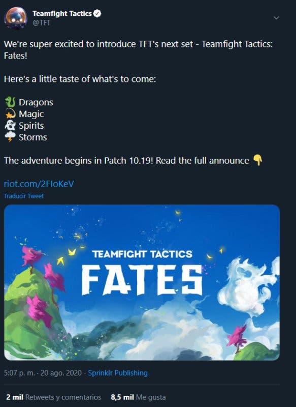 TFT presenta 'Fates', con nuevos sets de personajes en la versión 10.19