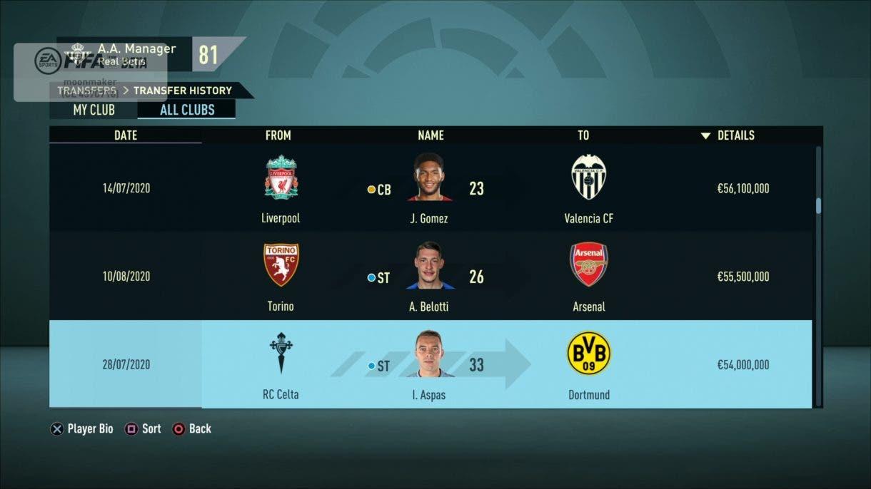 Traspasos FIFA 21 Modo Carrera