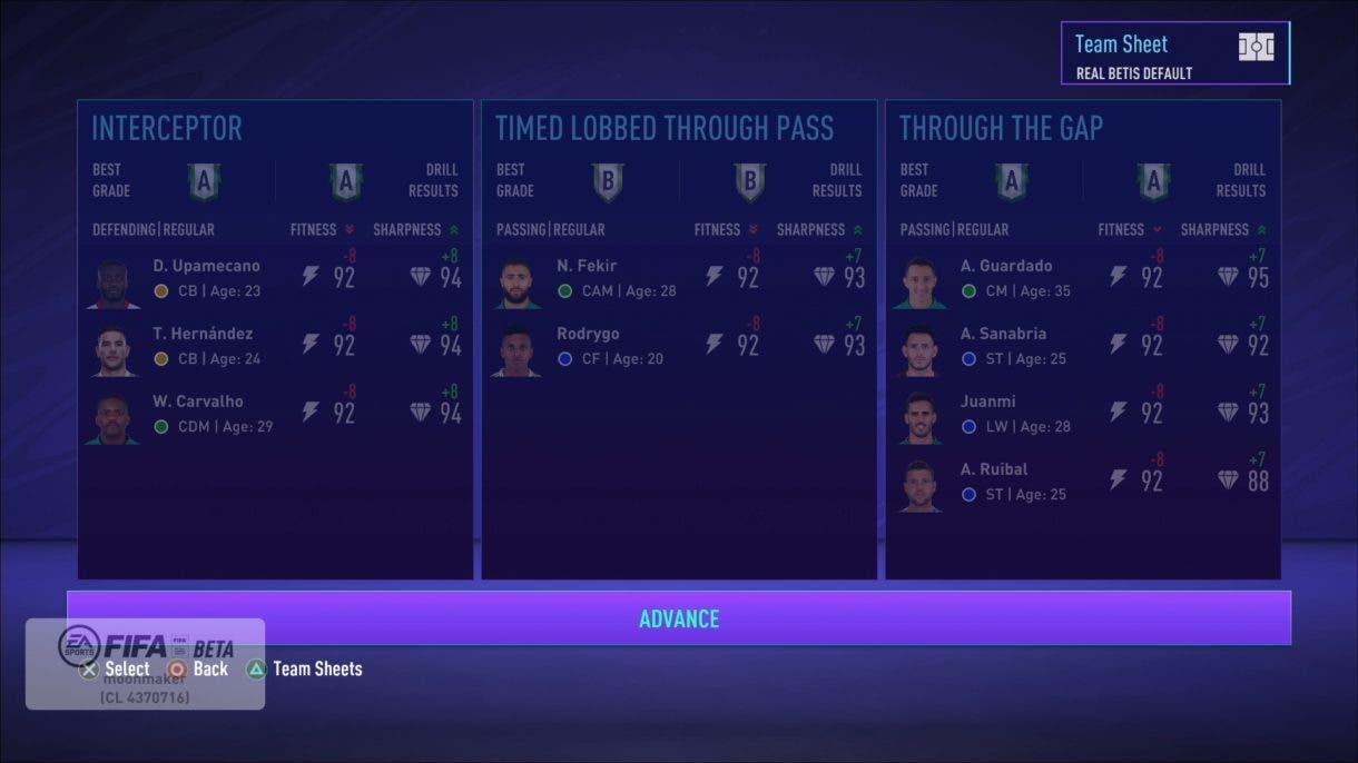 Entrenamientos/ejercicios FIFA 21 Modo Carrera