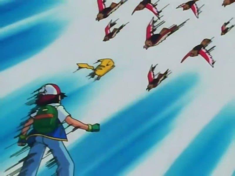 Pikachu y Ash ataque Spearow