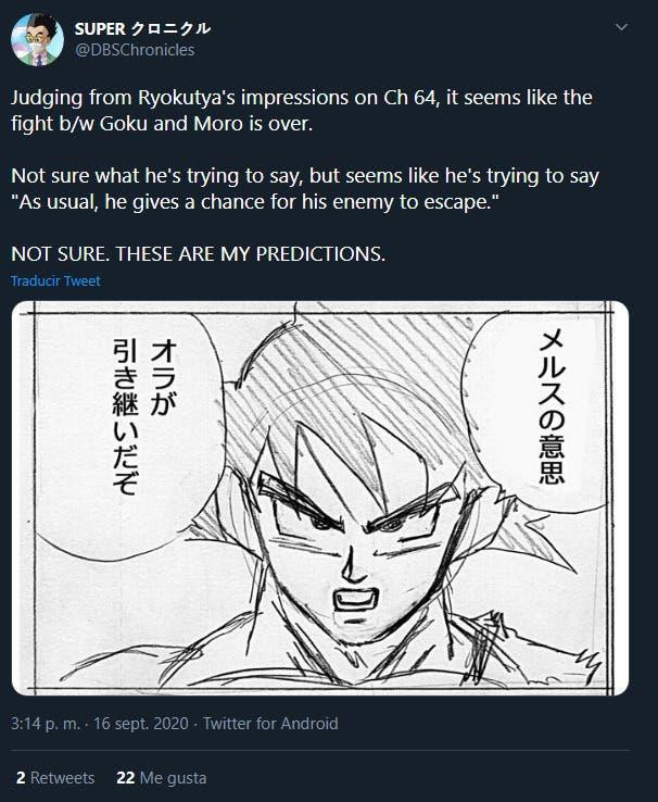 El combate contra Moro acabaría en el manga 64 de Dragon Ball Super