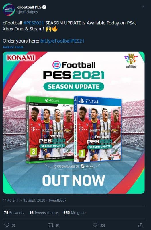 eFootball PES 2021 Season Update llega hoy a PS4, Xbox One y Steam