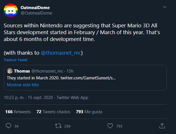 Super Mario 3D All-Stars habría sido desarrollado en 6 meses, sugiere datamining