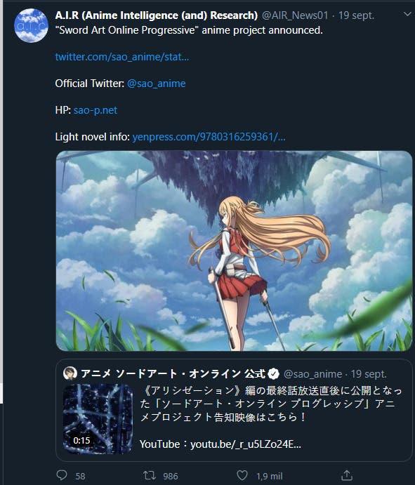 Sword Art Online Progressive anuncia su propio anime