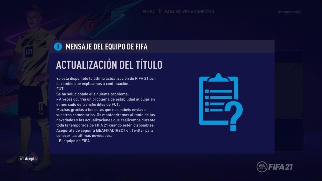 FIFA 21 Ultimate Team Actualización 1.03
