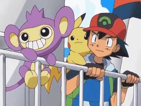 Anime de Pokémon Ash Pikachu y Aipom camino de Sinnoh