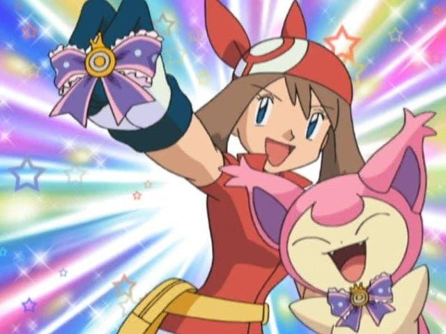 Anime de Pokémon Aura Cinta Concurso Skitty