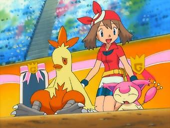 Anime de Pokémon Aura Combusken Skitty