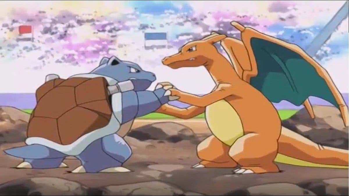 Anime de Pokémon Charizard vs Blastoise
