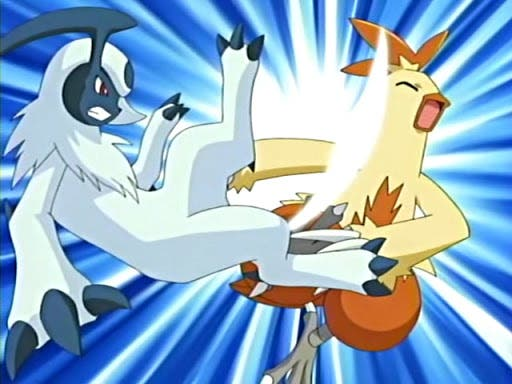 Anime de Pokémon Combusken vs Absol