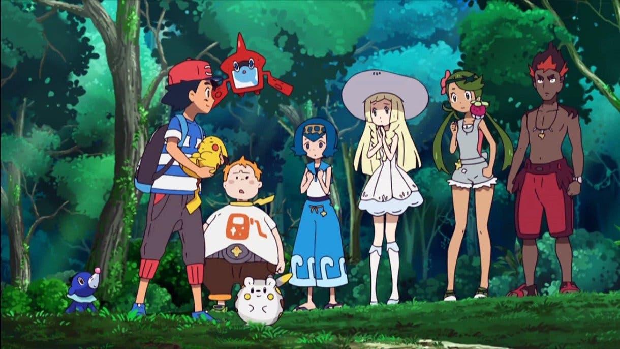 Anime de Pokémon Sol y Luna Ash Lylia Kiawe Nereida Lulú Chris