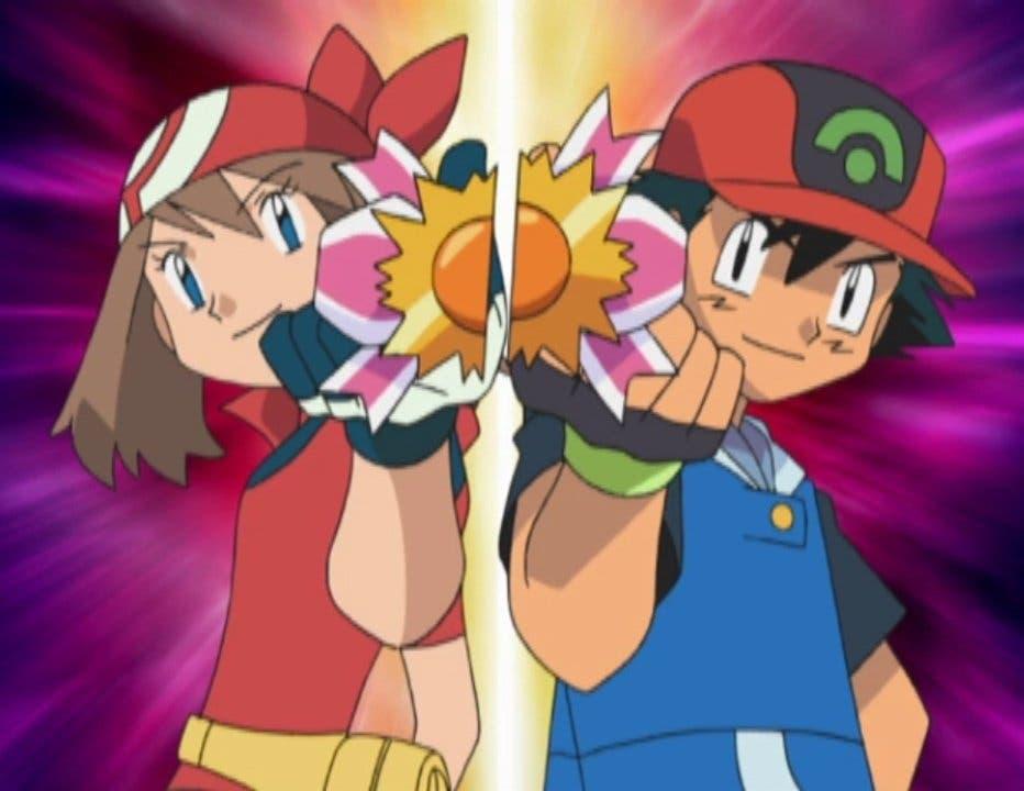 Ash y Aura cinta concurso anime de Pokémon