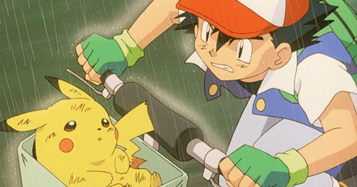 Ash y Pikachu bicicleta
