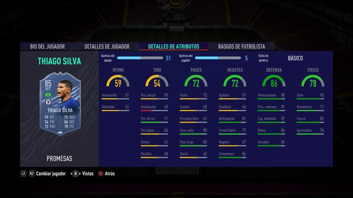 FIFA 21 Ultimate Team Thiago Silva OTW stats in game.