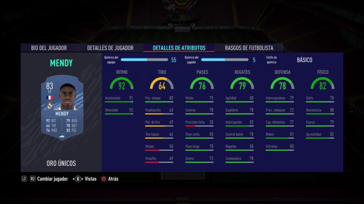 FIFA 21 Ultimate Team stats in game Mendy oro
