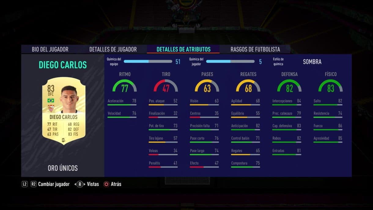 Diego Carlos RTTF stats in game FIFA 21 Ultimate Team