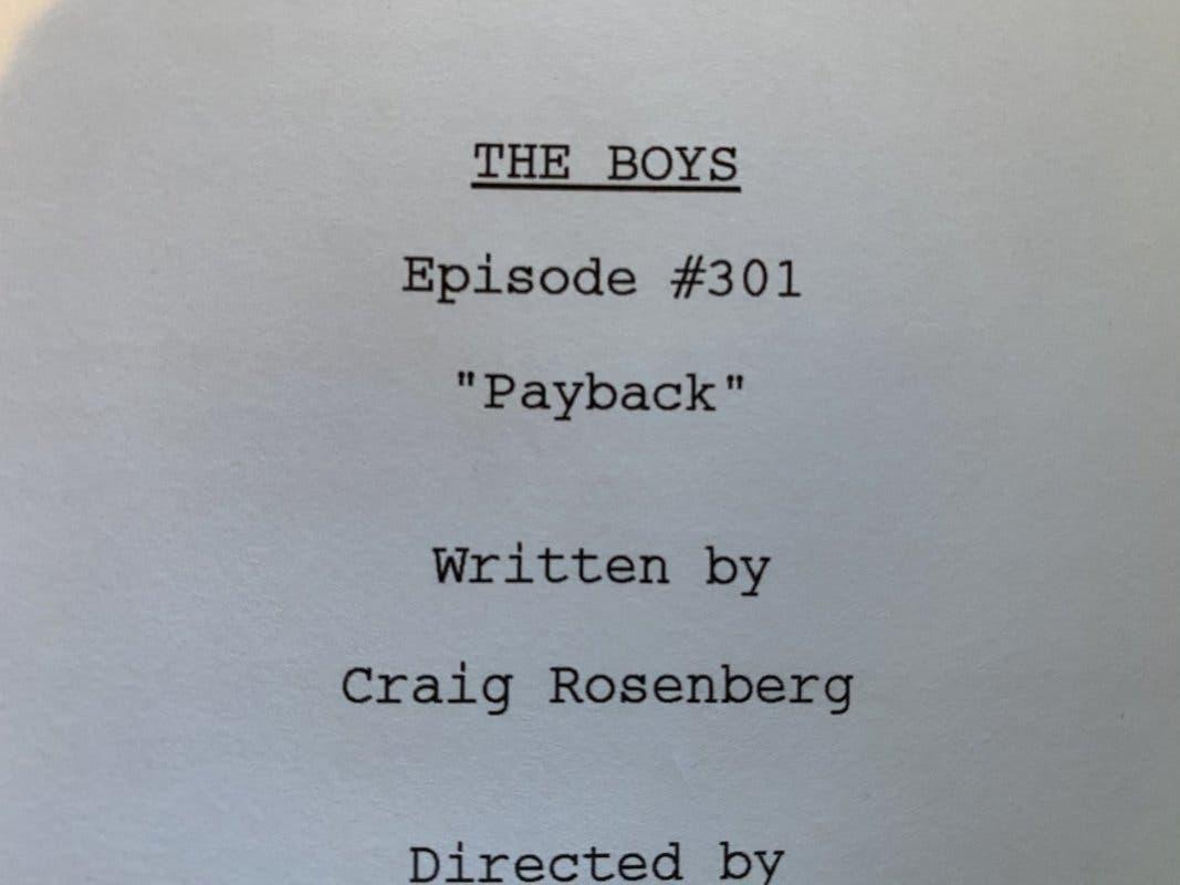 Esta es la primera página del guion de la tercera temporada de The Boys