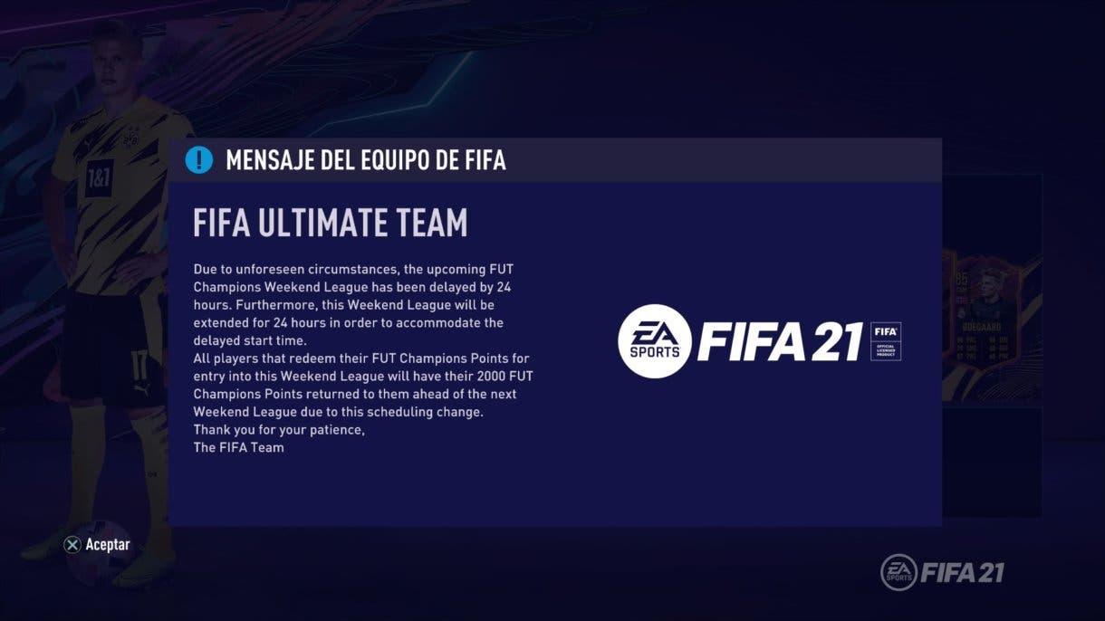 FIFA 21 Ultimate Team FUT Champions aviso retraso