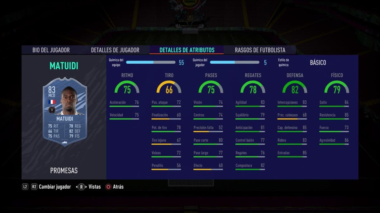 FIFA 21 Ultimate Team Matuidi OTW stats in game