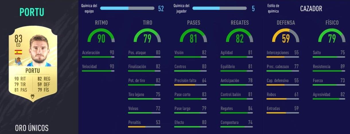 FIFA 21 Ultimate Team Liga Santander mejores extremos derechos stats in game de Portu oro
