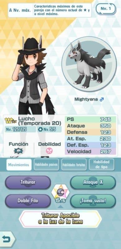 Pokémon Masters Lucho y Mightyena datos