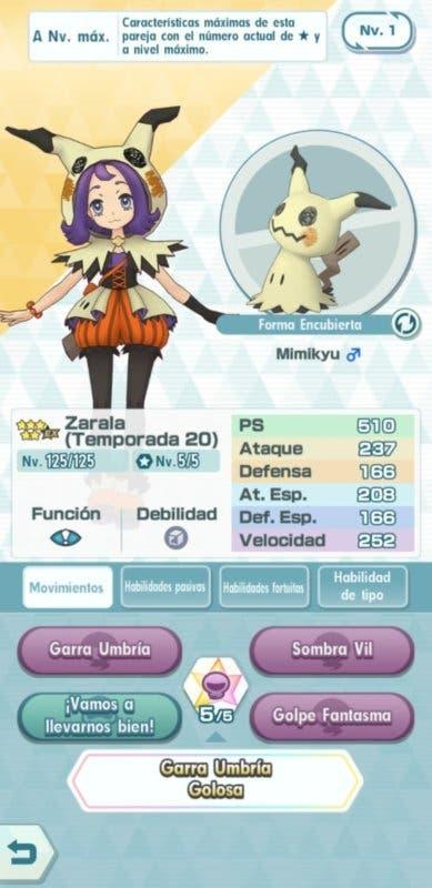 Pokémon Masters Zarala y Mimikyu datos