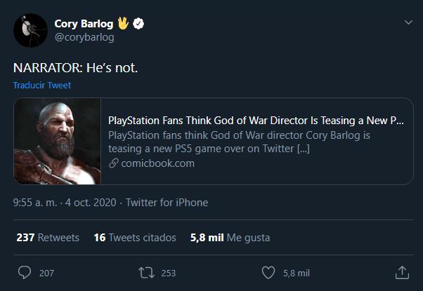 El director de God of War desmiente anunciar un nuevo juego para PS5