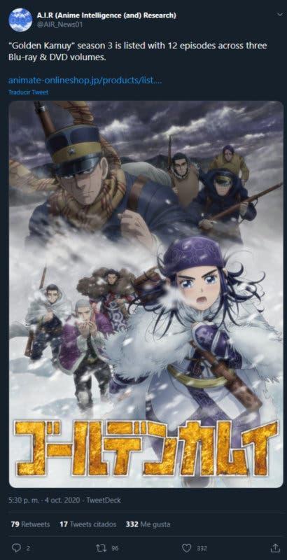 Golden Kamuy anuncia cuántos capítulos tendrá su temporada 3