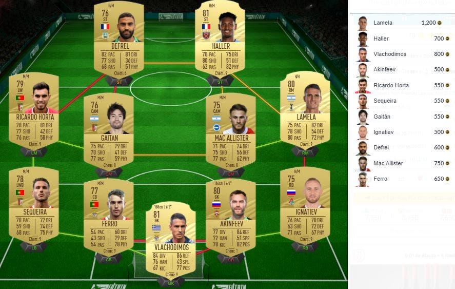 FIFA 21 Ultimate Team SBC Partidos de marquesina 26-11-2020
