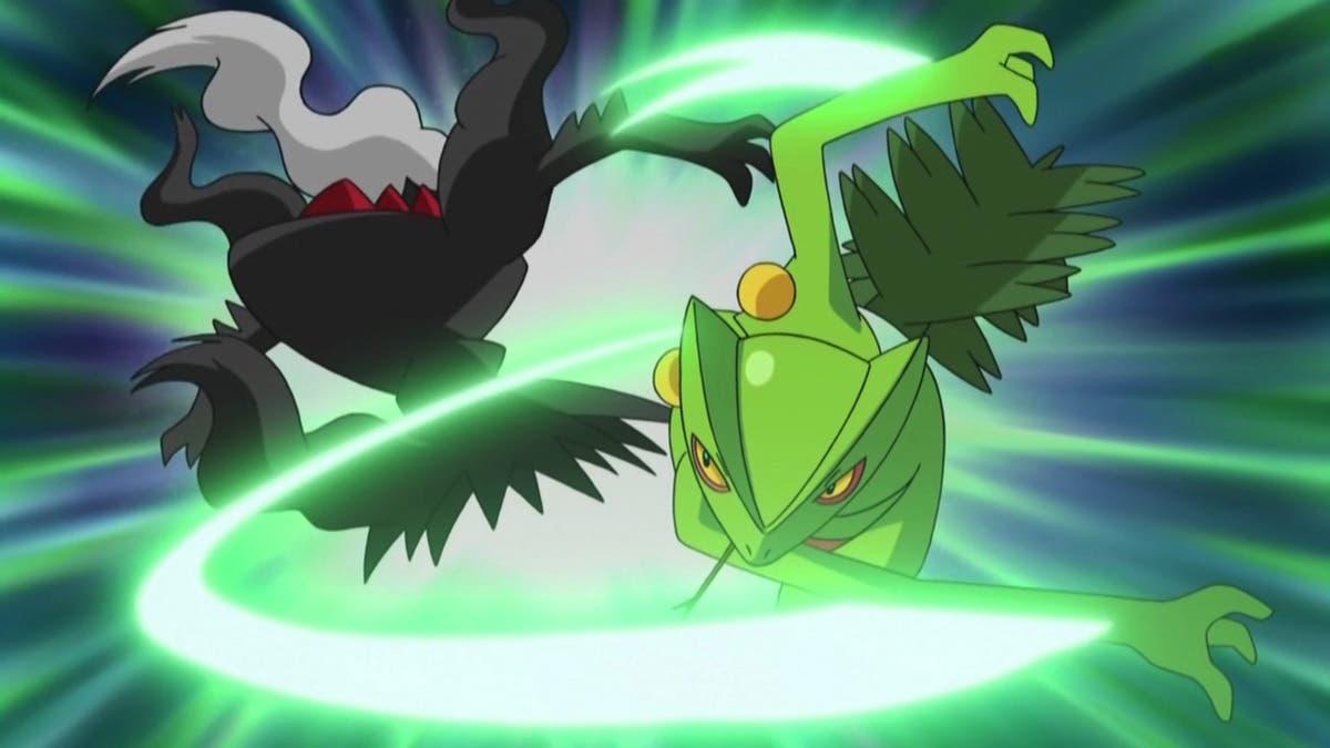 Anime de Ash Sceptile derrota a Darkrai