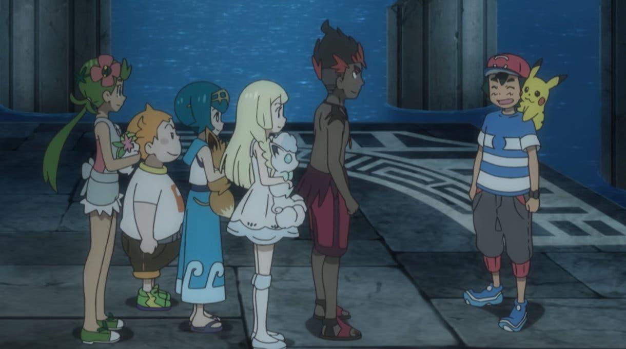 Anime de Pokemon Ash Lylia Chris Nereida Lulu Kiawe