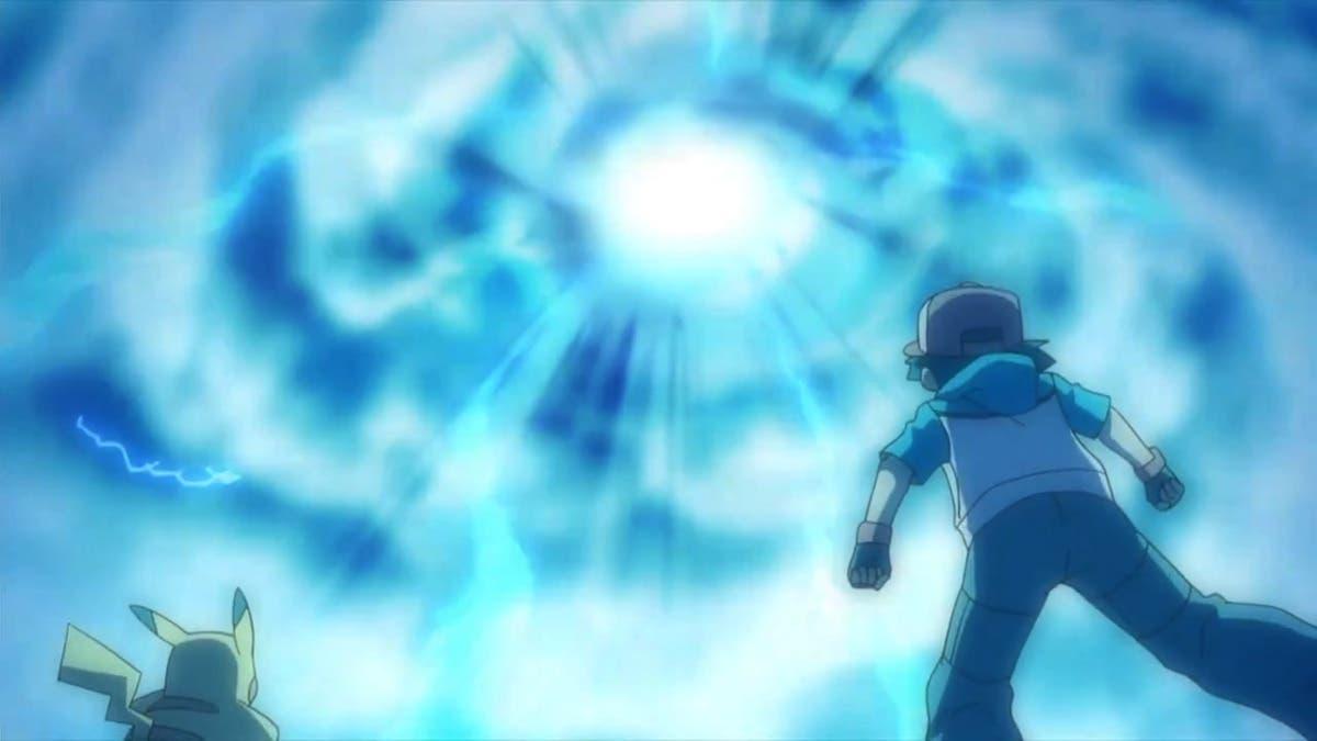 Anime de Pokemon Ash y Pikachu nube Zekrom