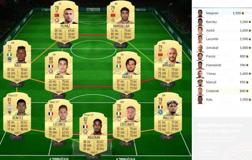 FIFA 21 Ultimate Team SBC Mejora Ligue 1 Black Friday