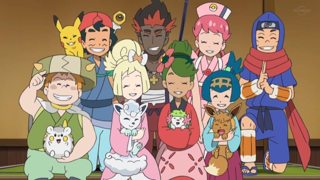 anime de Pokemon Alola Ash Lylia Chris Nereida Lulu Kiawe visita Ula Ula