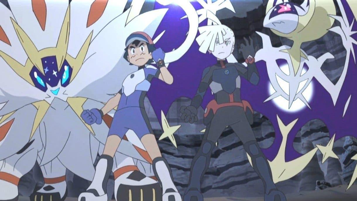 anime de Pokemon Ash Gladio Solgaleo Lunala