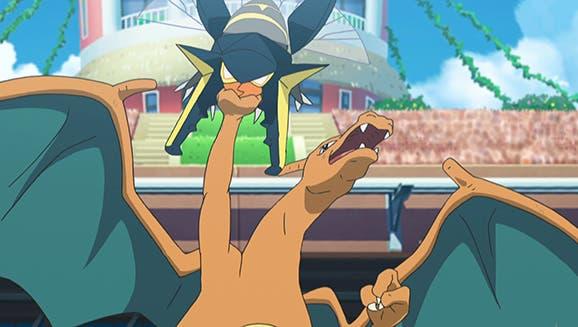 anime de Pokemon Liga de Alola Charizard vs Vikavolt Kiawe Chris