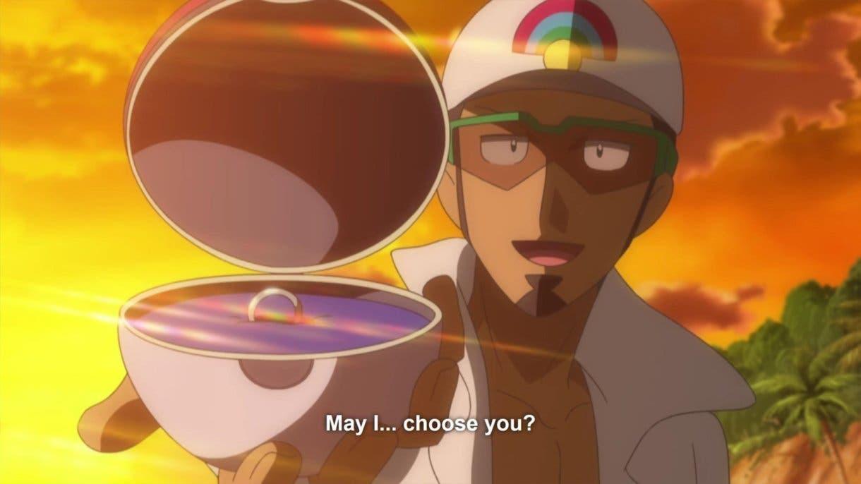 anime de Pokemon Profesor Kukui pedida de mano