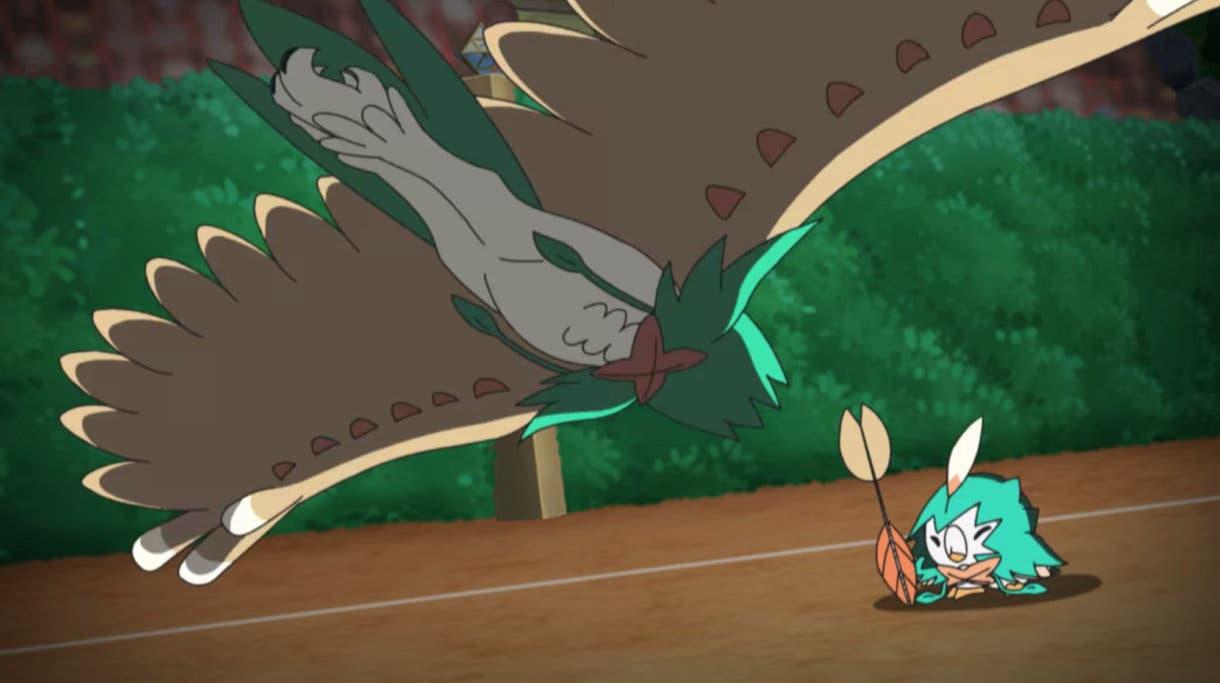 anime de Pokemon Rowlet vs Decidueye Ash Tilo Liga de Alola
