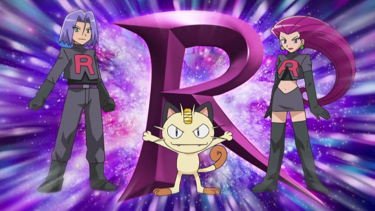 anime de Pokemon Team Rocket uniforme negro