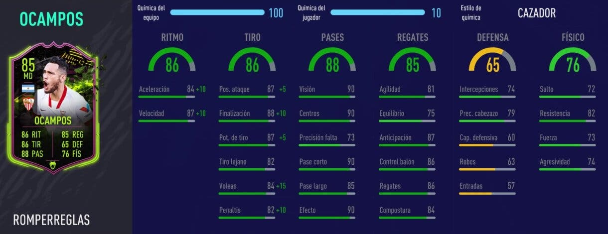 FIFA 21 Ultimate Team Liga Santander mejores extremos derechos stats in game de Ocampos Rulebreakers