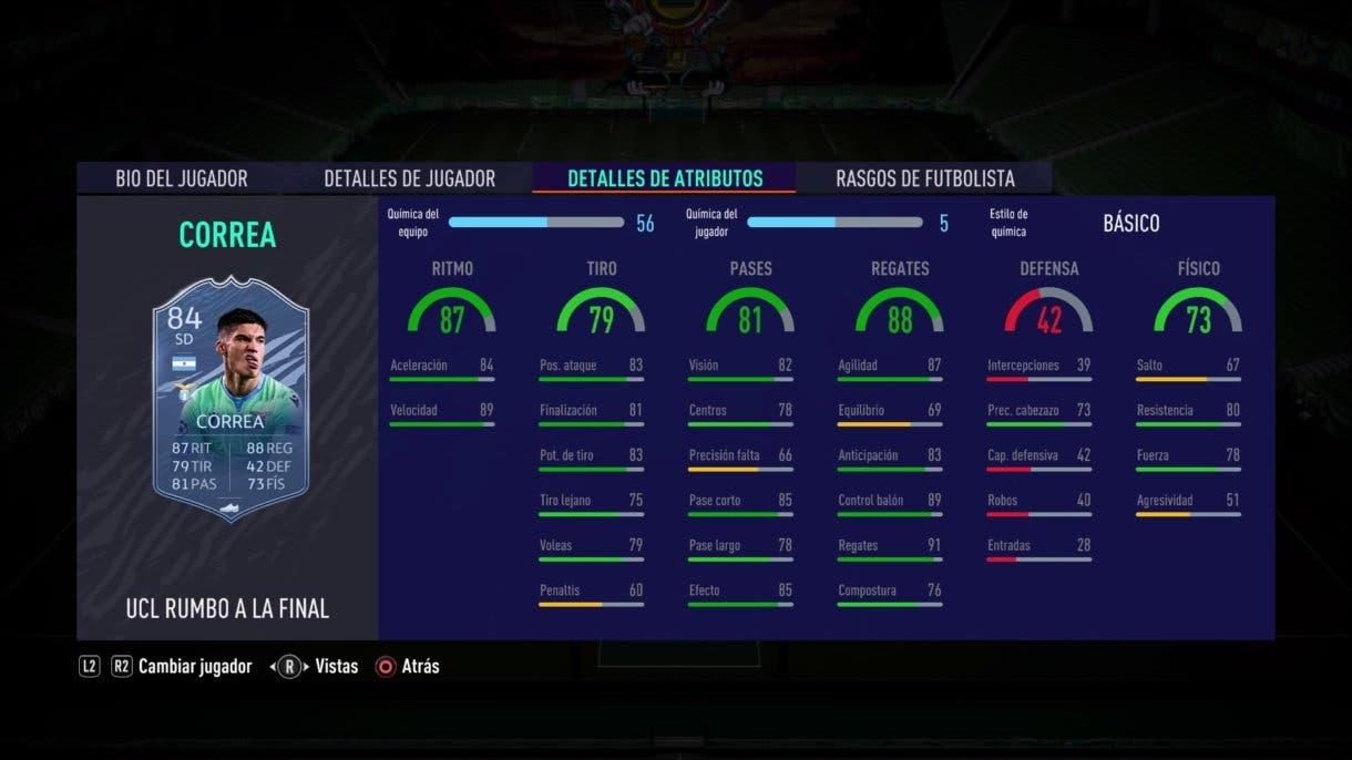 Estadísticas de FIFA 21 Ultimate Team de Joaquín Correa