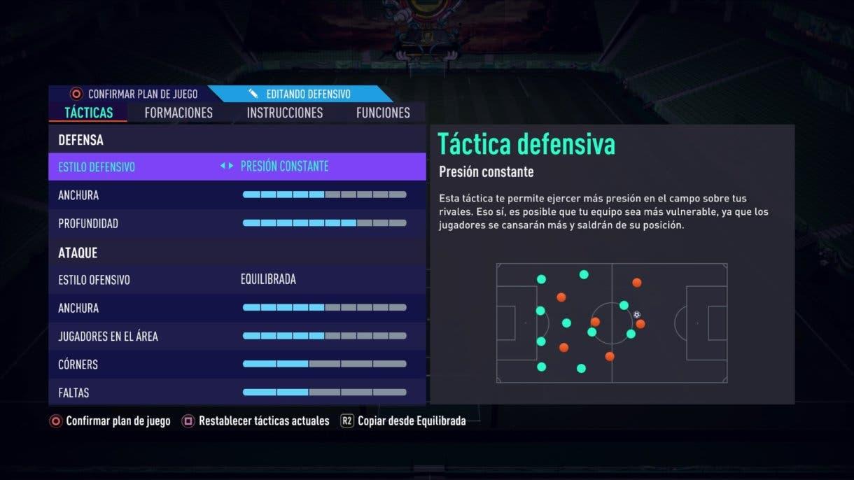 Presión Constante nuevo parche FIFA 21 Ultimate Team